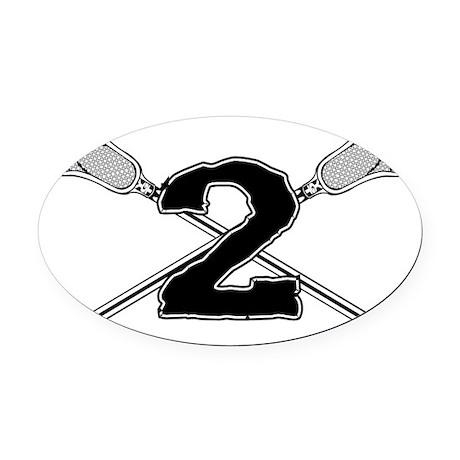 Lacrosse 2 v1 Oval Car Magnet