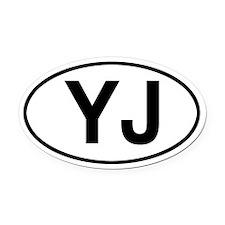 YJ Jeep Wrangler Oval Car Magnet