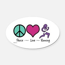 Peace- Love- Running Oval Car Magnet
