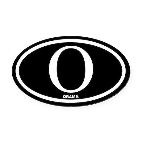 Barack Obama Black Euro Oval Car Magnet