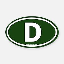 """D"" Euros Oval Car Magnet"