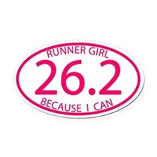 26.2 Runner Girl Because I Can Oval Car Magnet