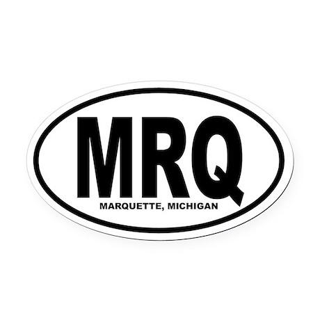 Marquette Oval Car Magnet (B&W)