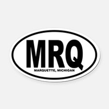 Marquette Oval Car Magnet (B&W)