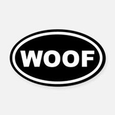 WOOF Black Euro Oval Car Magnet