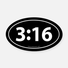 John 3:16 Euro Bumper Oval Car Magnet -Black