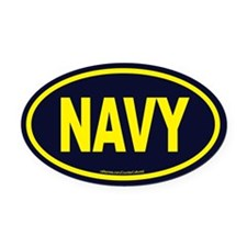 Cute Navy Oval Car Magnet