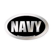 U.S. Navy Metalic Oval Car Magnet