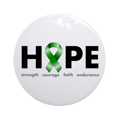 Green Ribbon Hope Ornament (Round)