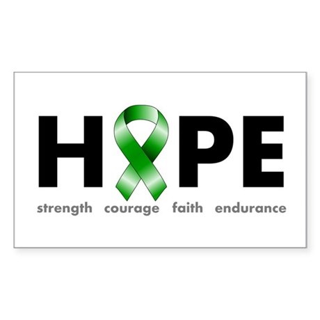 Green Ribbon Hope Sticker (Rectangle)
