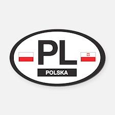 PL Car Decal - Polska (Poland) - Oval Car Magnet