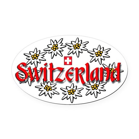 Swiss Edelweiss Oval Car Magnet