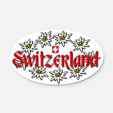 Swiss Edelweiss Oval Car Magnet