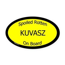 Spoiled Kuvasz On Board Oval Car Magnet