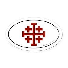 Jerusalem Cross Oval Car Magnet -Red Logo (Oval)