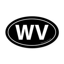 West Virginia WV Auto Oval Car Magnet -Black (Oval