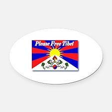 Please Free Tibet Oval Car Magnet