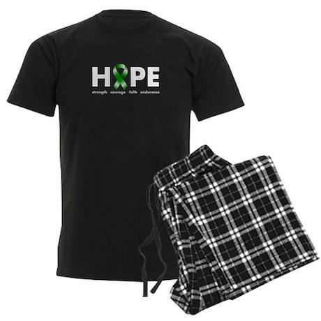 Green Ribbon Hope Men's Dark Pajamas