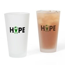 Green Ribbon Hope Drinking Glass