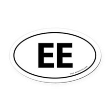 EE Euro Style Auto Oval Car Magnet -White