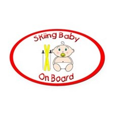 Skiing Baby on Board Oval Car Magnet