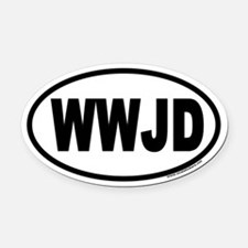 WWJD Oval Car Magnet