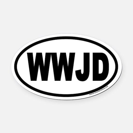 WWJD Oval Car Magnet