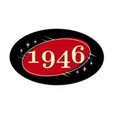 Year 1946 Black/Red Neo Retro Oval Decal