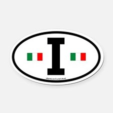 """I"" Italian Euro Flag 2 Oval Car Magnet"
