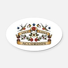 Live Love Accordion Oval Car Magnet