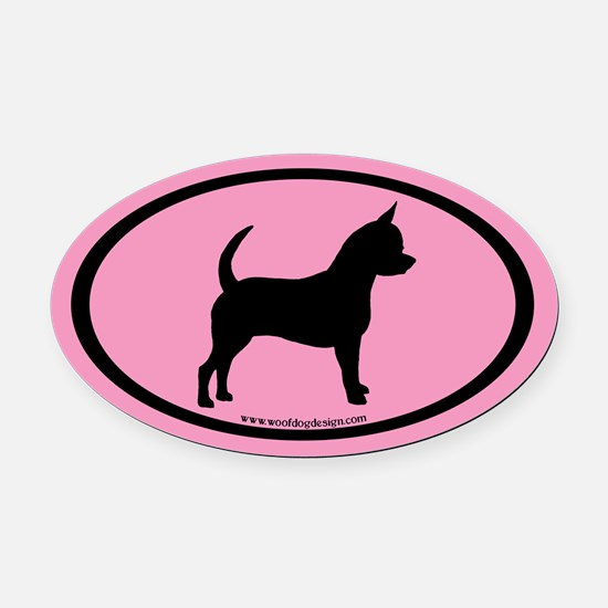 Chihuahua Oval (black on pink) Oval Car Magnet