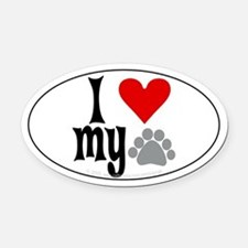 love Hemingway cat Oval Car Magnet