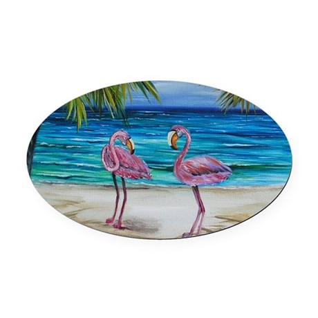 Romantic Pink Flamingos Oval Car Magnet