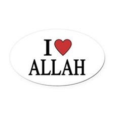 I Love Allah Oval Car Magnet