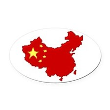 """""""Pixel China"""" Oval Car Magnet"""