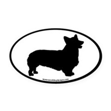 Pembroke Welsh Corgi (black border) Oval Car Magne