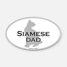 Siamese Dad Oval Car Magnet