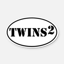 TWINS Squared Oval Car Magnet