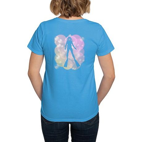 Scuba Diver in Bubbles (F) Women's Dark T-Shirt