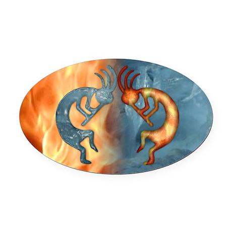 Kokopelli Fire & Ice (NEW) Oval Car Magnet