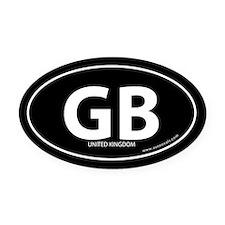 United Kingdom GB bumper Oval Car Magnet -Black (O