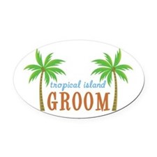 Groom Tropical Wedding Oval Car Magnet