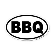 Bar-B-Que BBQ Euro Oval Car Magnet
