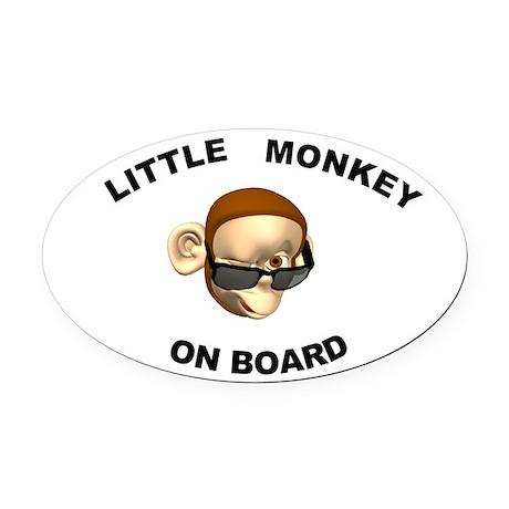 Little Monkey on Board Oval Car Magnet