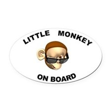 Little Monkey on Board Oval Car Magnet