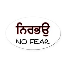 Nirbhau - No Fear Oval Car Magnet