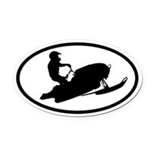 Snowmobiling Oval Car Magnet