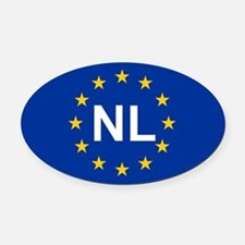 EU Netherlands Oval Car Magnet