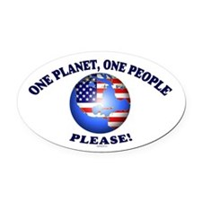 One People Please! Oval Car Magnet