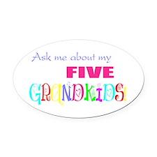 Five Grandkids Oval Car Magnet
